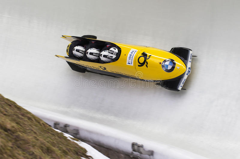 Nico Walther BMW IBSF World Cup Koenigssee 2016. Bobsleigh athlete Nico Walther of Germany competes with Marko Huebenbecker, Christian Poser and Eric Franke royalty free stock images
