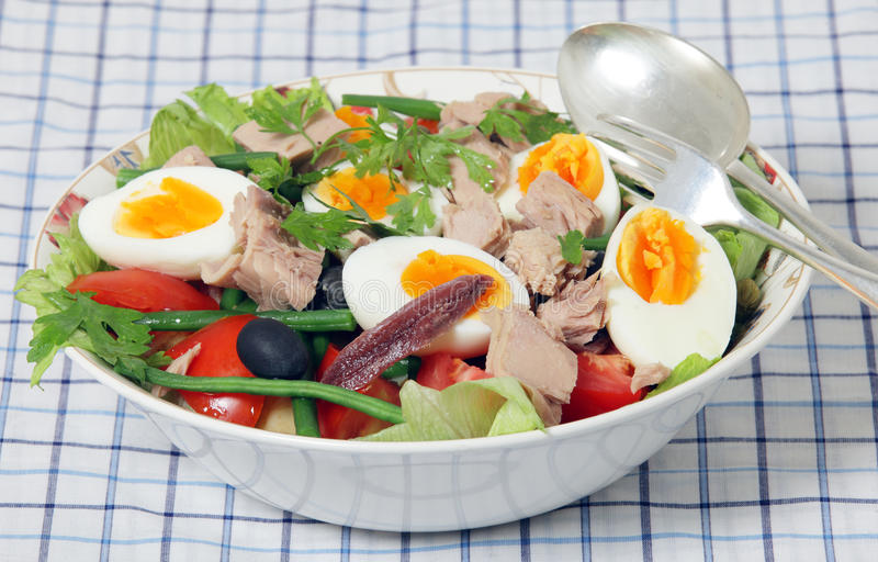 Nicoise salad and serving tools royalty free stock photos