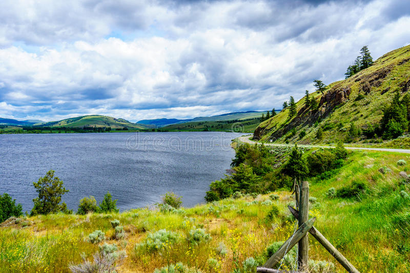 Nicola Lake and the Nicola Valley under Cloudy Skies. Along Highway 5A between Kamloops and Merritt, British Columbia stock images