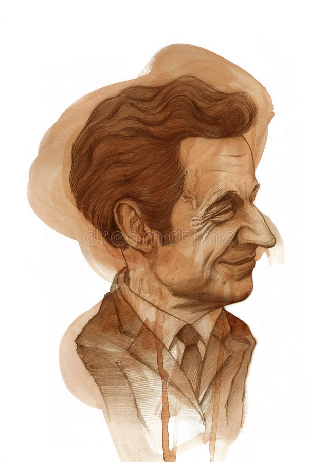 Nicola Sarkozy Caricature. Editorial use illustration for newspaper, magazines and web