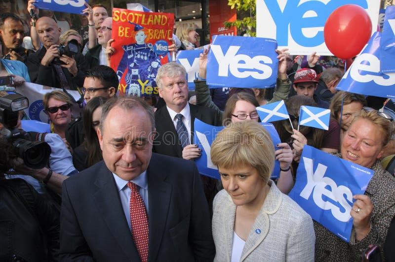 Nicola Sturgeon and Alex Salmond Scottish Indy Ref 2014. SCOTLAND Perth -- 12 Sep 2014 -- First Minister Alex Salmond and Deputy First Minister Nicola Sturgeon royalty free stock photography