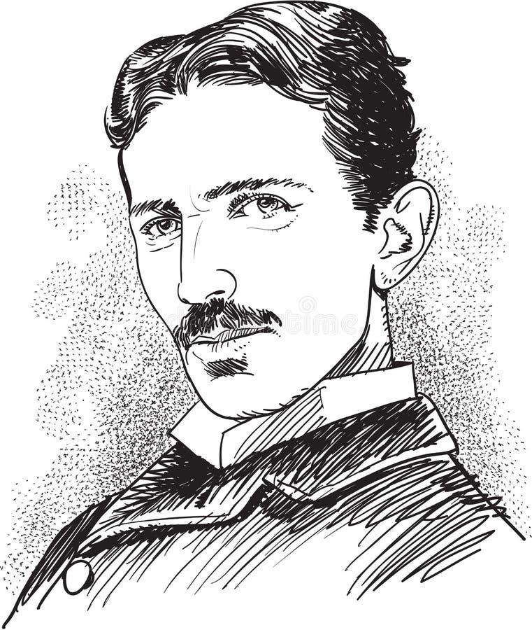 Nikola Tesla portrait illustration, line art vector. Nikola Tesla portrait. Famous scientist's illustration in comic style