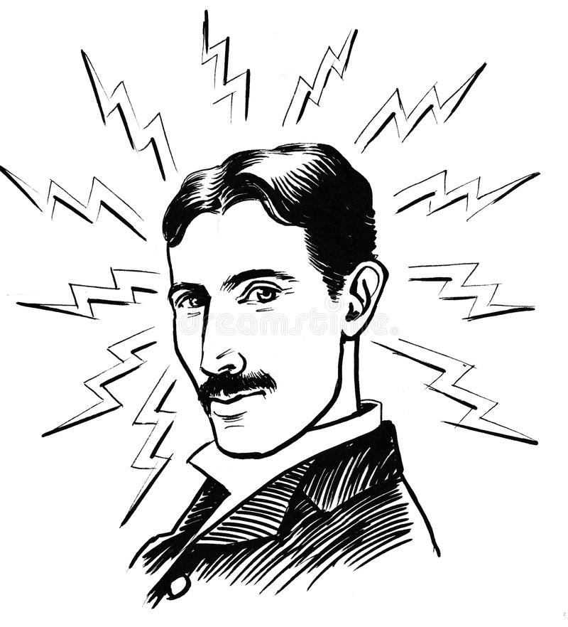 Nicola Tesla stående stock illustrationer