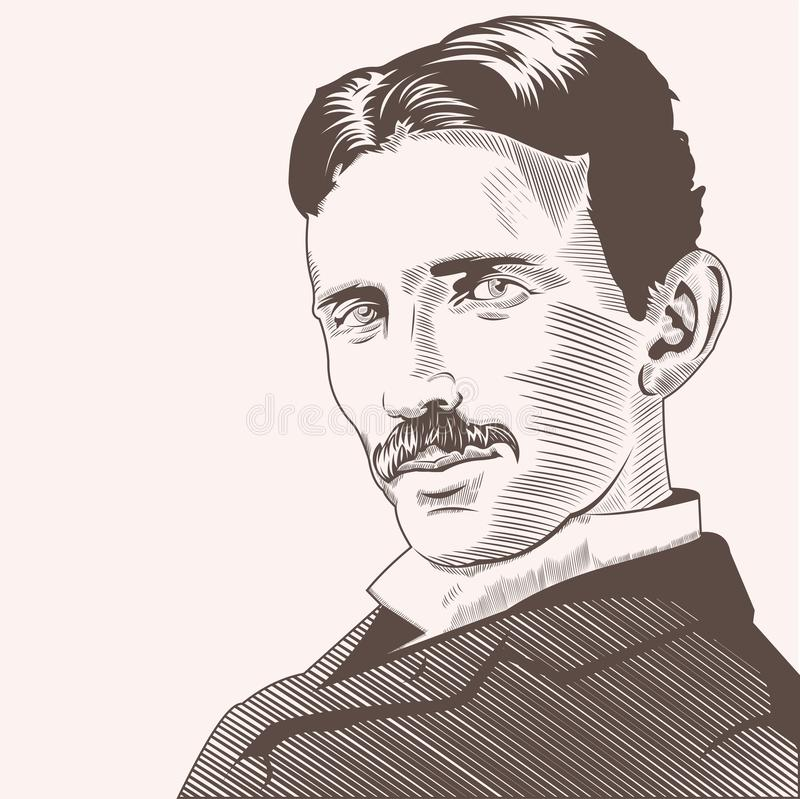 Nicola Tesla Vector Illustrations handattraktion vektor illustrationer