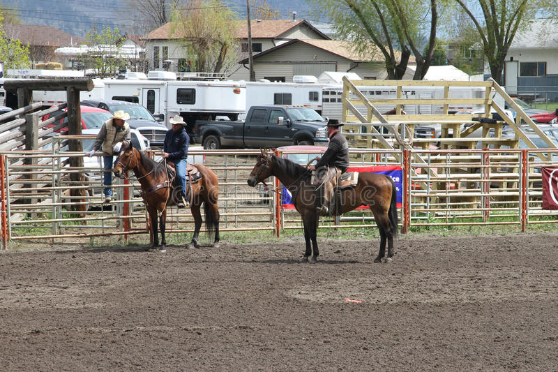 Nicola Valley Rodeo. MERRITT; B.C. CANADA - MAY 15: Cowboys at Nicola Valley Rodeo May 15; 2011 in Merritt British Columbia; Canada royalty free stock image