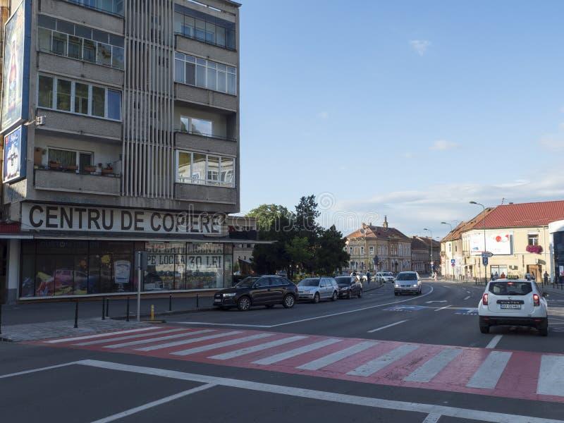 Nicolae Balcescu street in Brasov, Romania stock photo