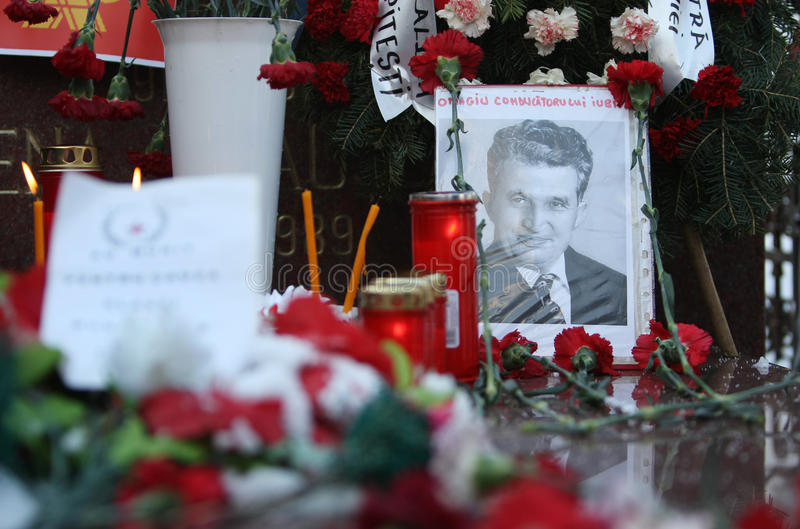 NICOLAE CEAUSESCU. Dozens of communist regime nostalgics, came to Ghencea Civil Cemetery, in Bucharest, Romania, to commemorate Nicolae Ceausescu's royalty free stock photography