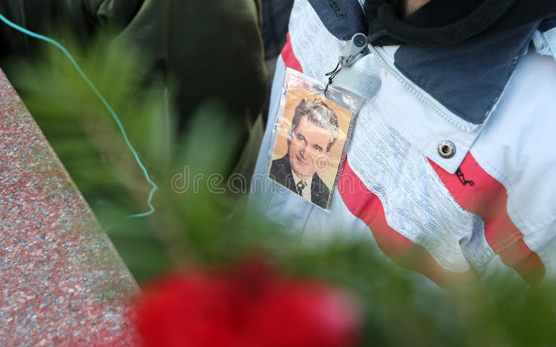 NICOLAE CEAUSESCU. Dozens of communist regime nostalgics, came to Ghencea Civil Cemetery, in Bucharest, Romania, to commemorate Nicolae Ceausescu's royalty free stock images