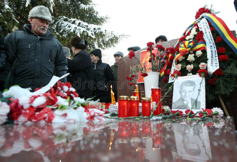 NICOLAE CEAUSESCU. Dozens of communist regime nostalgics, came to Ghencea Civil Cemetery, in Bucharest, Romania, to commemorate Nicolae Ceausescu's stock photo