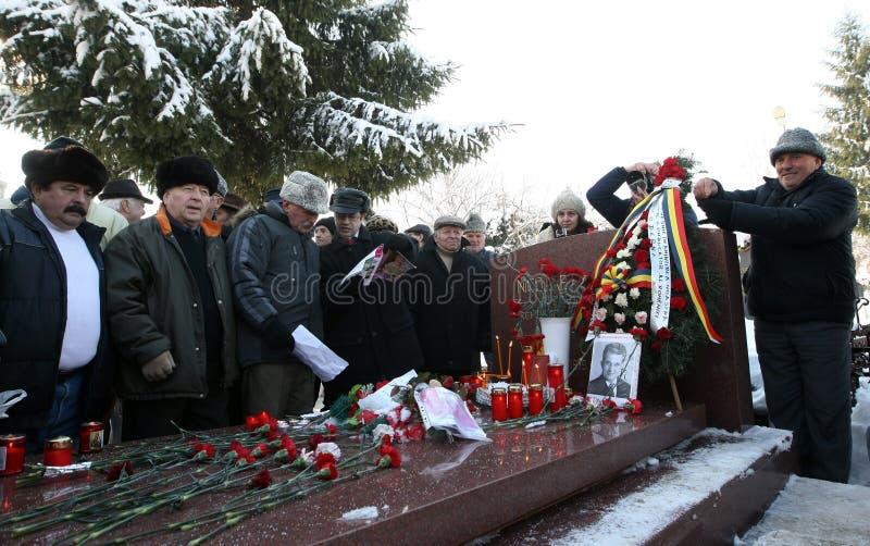NICOLAE CEAUSESCU. Dozens of communist regime nostalgics, came to Ghencea Civil Cemetery, in Bucharest, Romania, to commemorate Nicolae Ceausescu's stock photos
