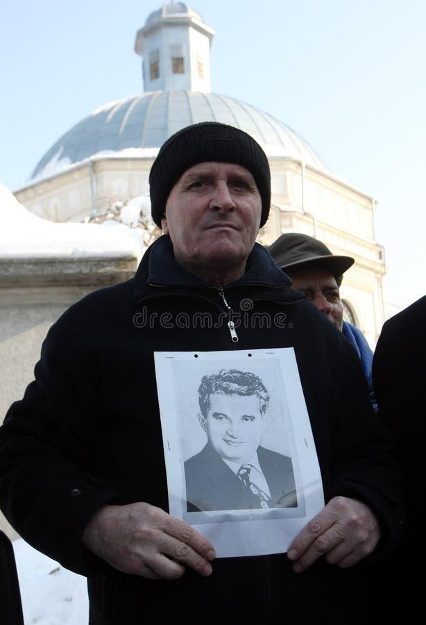 NICOLAE CEAUSESCU. Dozens of communist regime nostalgics, came to Ghencea Civil Cemetery, in Bucharest, Romania, to commemorate Nicolae Ceausescu's stock image