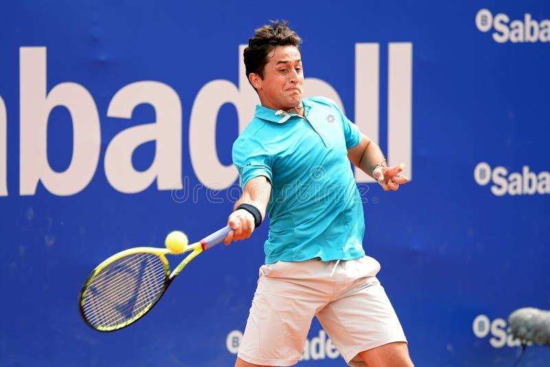 Nicolas Almagro (tennis spagnolo) gioca all'ATP Barcellona fotografia stock