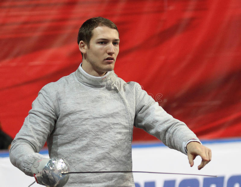 Nicolas Limbach. Germany's Nicolas Limbach compete at the 2010 RFF Moscow Saber World Fencing Tournament in Moscow, Russia royalty free stock images