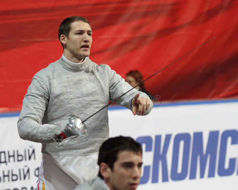 Nicolas Limbach in Moscow. Germany's Nicolas Limbach compete at the 2010 RFF Moscow Saber World Fencing Tournament in Moscow, Russia royalty free stock images