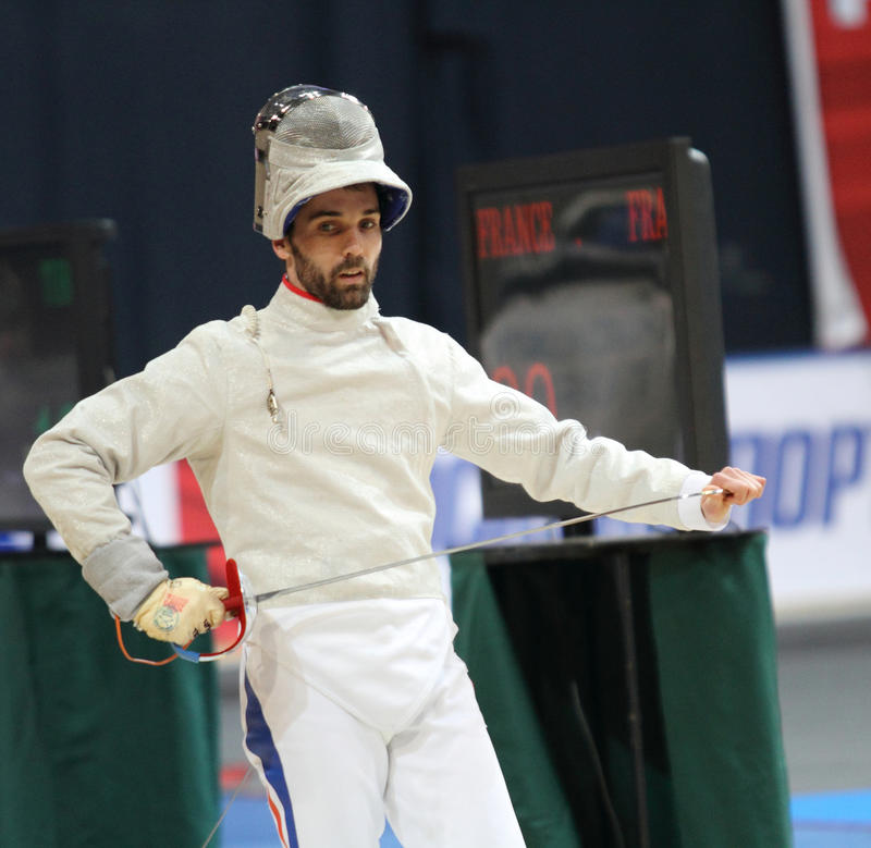 Nicolas Lopez. (FRA) compete at the 2010 RFF Moscow Saber World Fencing Tournament in Moscow, Russia royalty free stock photography