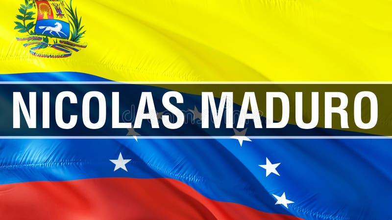 Nicolas Maduro on Venezuela flag. 3D Waving flag design. The national symbol of Venezuela, 3D rendering. National colors and. National South America flag of stock image