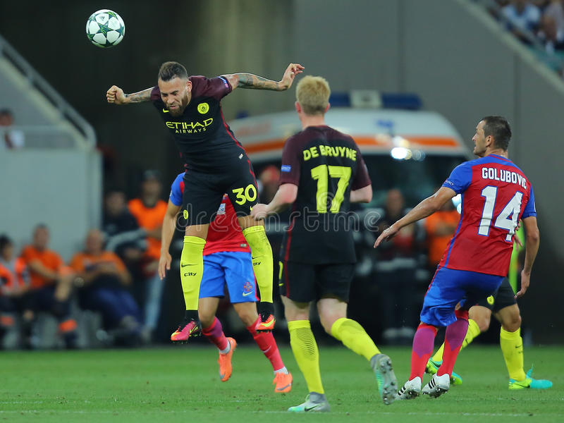 Nicolas Otamendi header. Nicolas Hernan Gonzalo Otamendi defender of Manchester City, pictured during the Uefa Champions League match against Steaua Bucharest royalty free stock photos