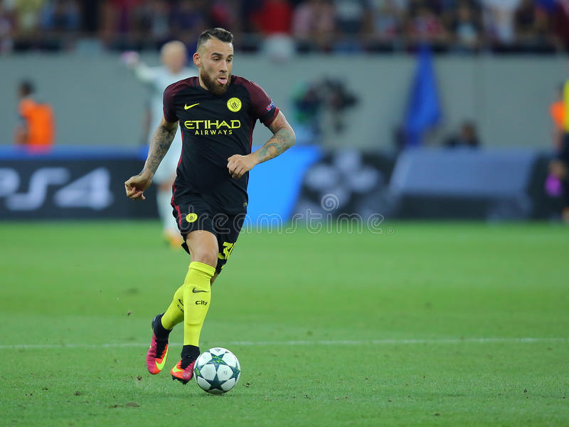 Nicolas Otamendi. Nicolas Hernan Gonzalo Otamendi defender of Manchester City, pictured during the Uefa Champions League match against Steaua Bucharest royalty free stock photography