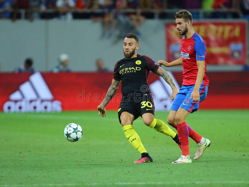 Nicolas Otamendi. Nicolas Hernan Gonzalo Otamendi defender of Manchester City, pictured during the Uefa Champions League match against Steaua Bucharest royalty free stock image
