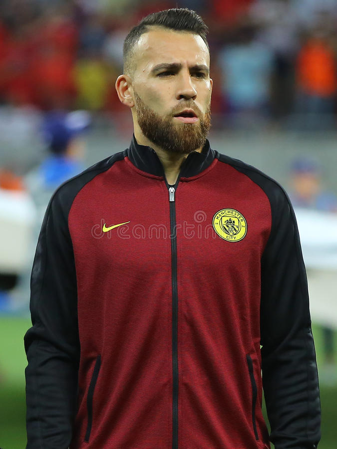 Nicolas Otamendi. Nicolas Hernan Gonzalo Otamendi defender of Manchester City, pictured before the Uefa Champions League match against Steaua Bucharest stock photos