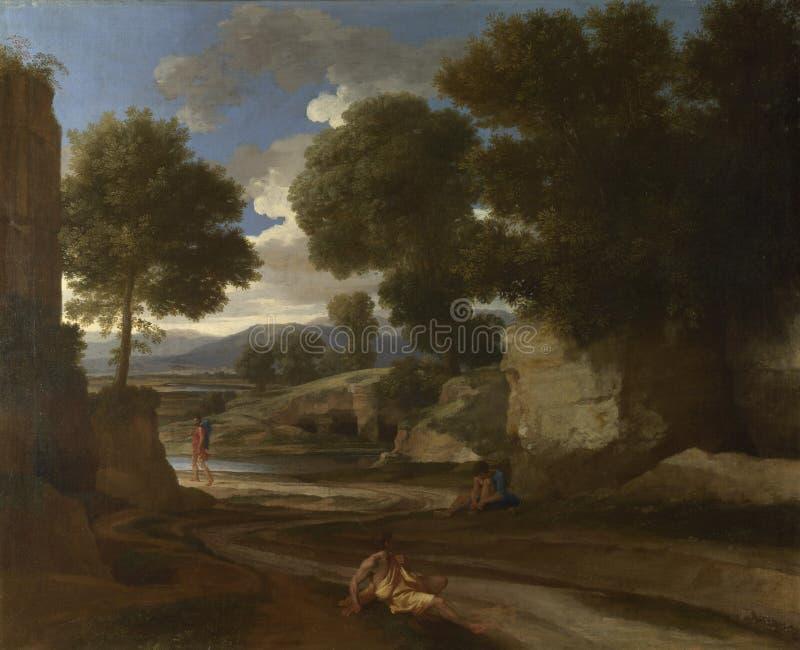 Nicolas Poussin - ландшафт с отдыхать путешественников стоковое изображение rf