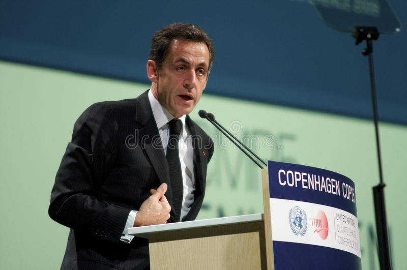 Nicolas Sarkozy. President of France Nicolas Sarkozy, speaking at COP15, Climate Change Conference in Copenhagen, Denmark stock images