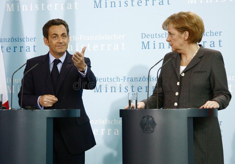 Nicolas Sarkozy, Angela Merkel stockfotos