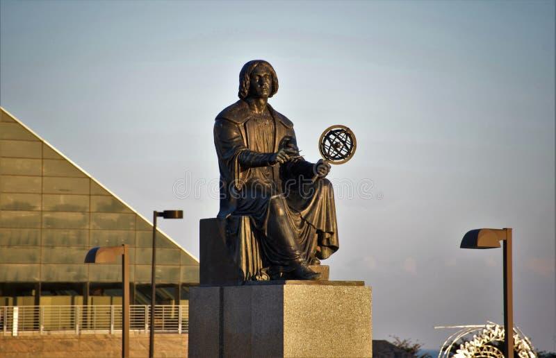 Nicolaus Copernicus Monument på den Adler planetariet, Chicago, IL arkivfoto