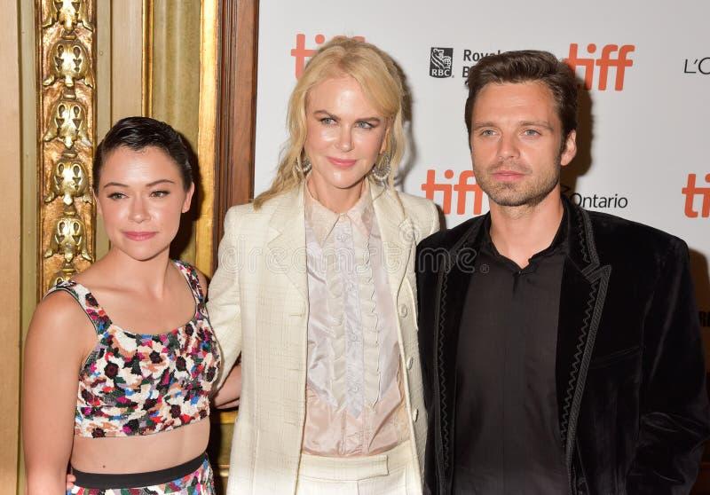 Nicole Kidman, Tatiana Maslany e Sebastian Stan na premier de filme do ` do contratorpedeiro do ` no festival de cinema internaci foto de stock