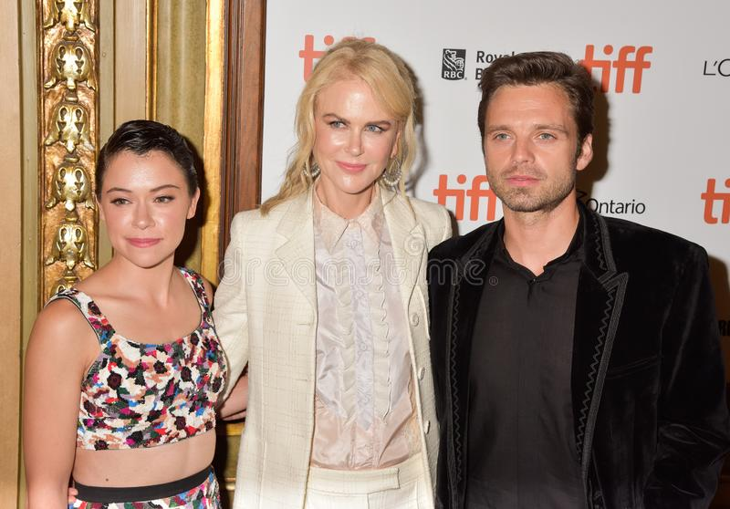 Nicole Kidman, Tatiana Maslany en Sebastian Stan bij de filmpremière van `-Torpedojager ` bij Internationaal de Filmfestival 2018 stock foto
