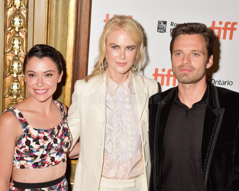 Nicole Kidman, Tatiana Maslany en Sebastian Stan bij de filmpremière van `-Torpedojager ` bij Internationaal de Filmfestival 2018 royalty-vrije stock foto's