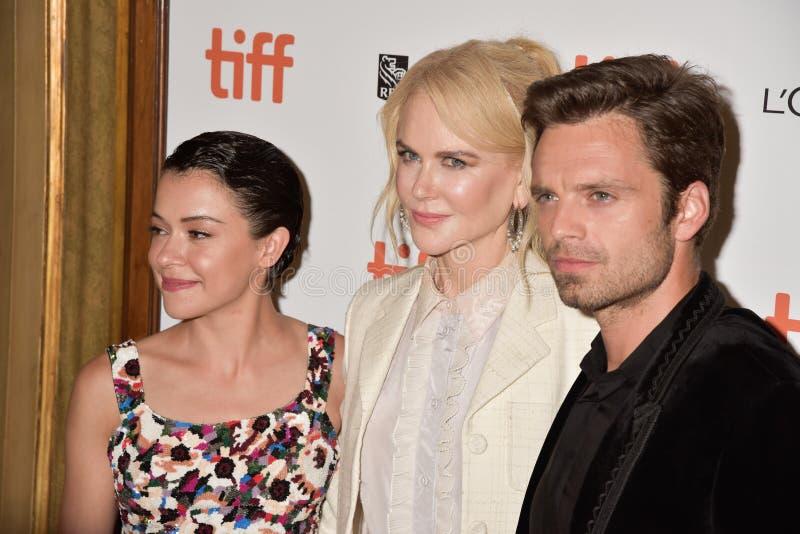 Nicole Kidman, Tatiana Maslany och Sebastian Stan på filmpremiären av `-jagare` på Toronto den internationella filmfestivalen 201 arkivbilder