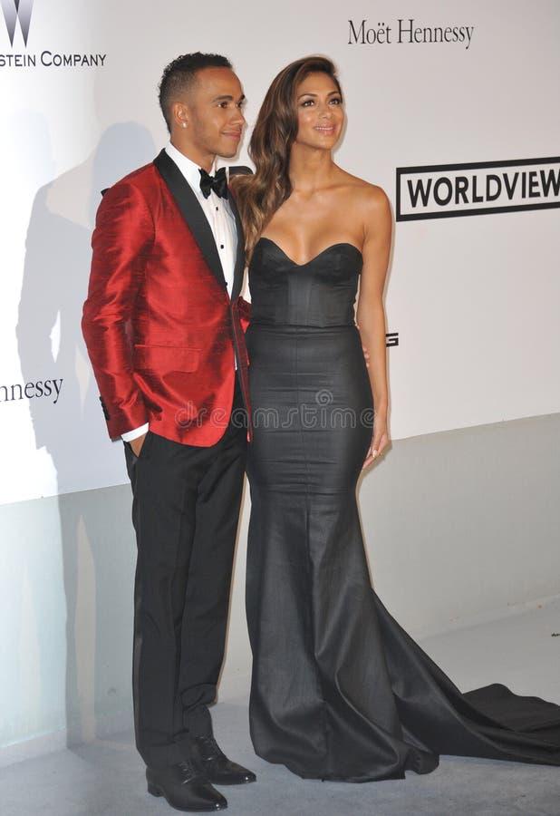 Nicole Scherzinger y Lewis Hamilton imágenes de archivo libres de regalías