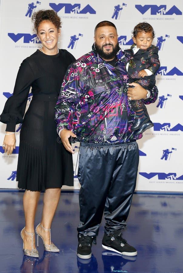 Nicole Tuck, DJ Khaled en Asahd Tuck Khaled royalty-vrije stock fotografie
