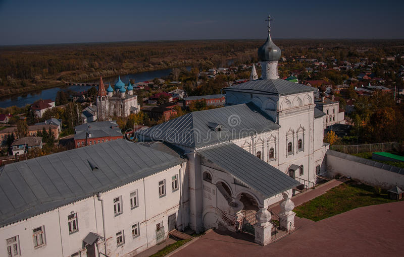 Nicolo Trinity monastery. Gorokhovets. The Vladimir region. The end of September 2015. View of the historical part of the city gorohovets from the bell tower royalty free stock photos