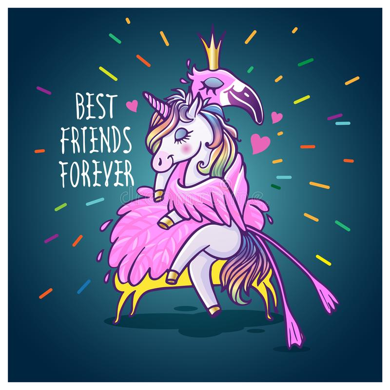 Unicorn with flamingo. Best friends forever. Vector greeting car vector illustration