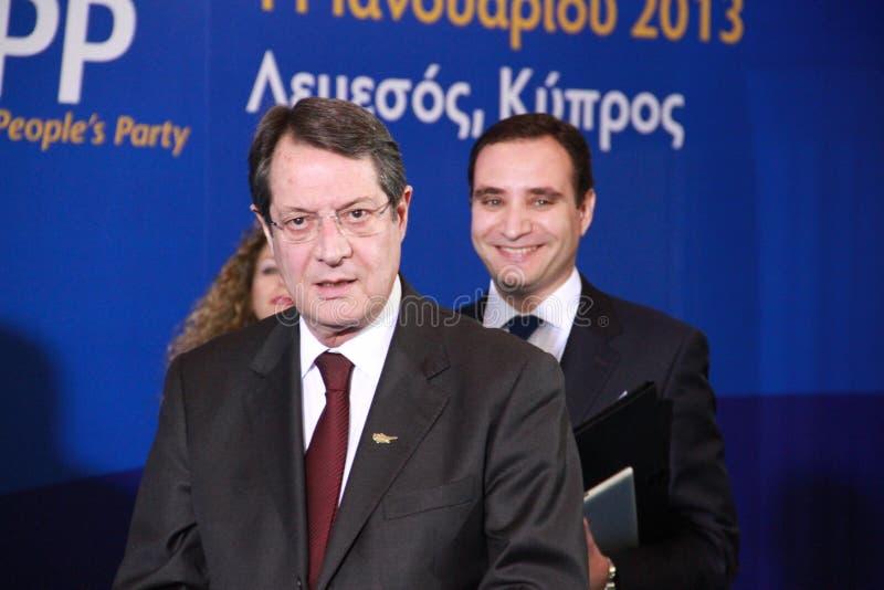 Nicos Anastasiades, concorrente presidenziale. fotografie stock libere da diritti