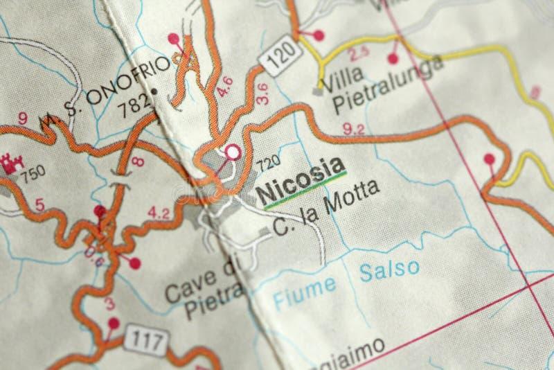 nicosia carte Les îles de la Sicile, Italie photo libre de droits