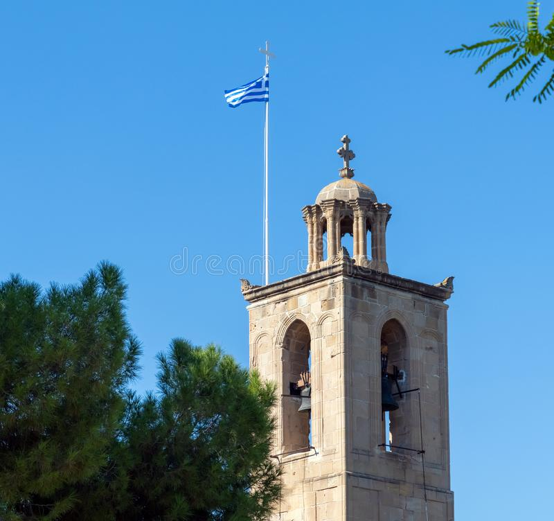 Nicosia, Chypre Cathédrale de beffroi de St John le divin images stock