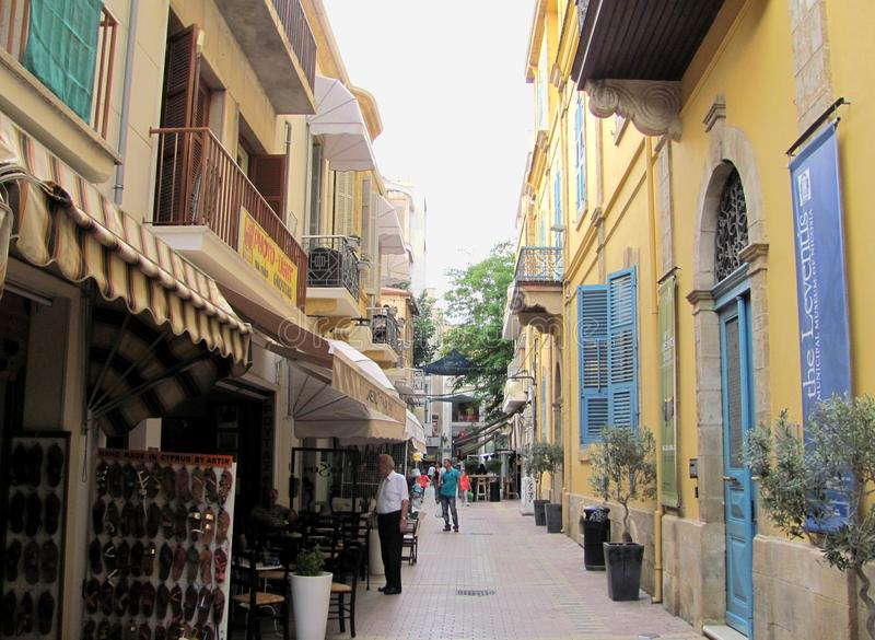 Little shops in Nicosia, Cyprus royalty free stock image