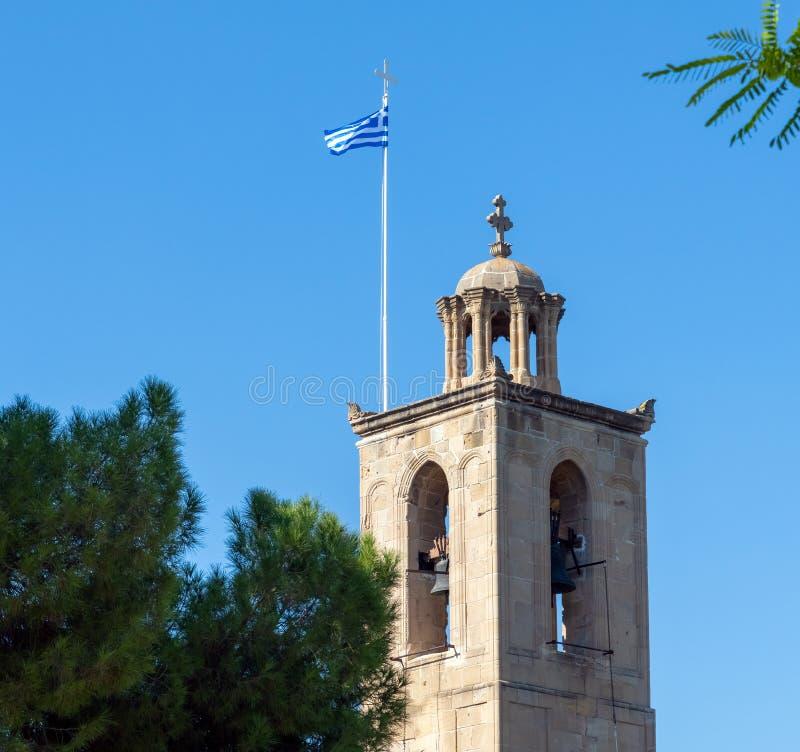 Nicosia, Cyprus Klokketorenkathedraal van St John Goddelijk stock afbeeldingen