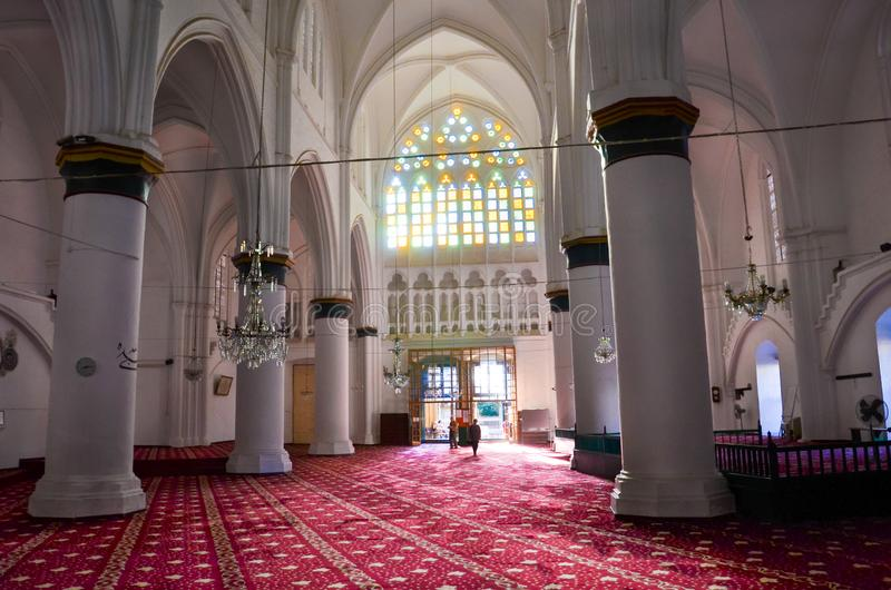 Nicosia, Cyprus - Oct 4th 2018: Marvelous interior of islamic Selimiye Mosque in Cypriot Lefkosa with stained glass royalty free stock photos