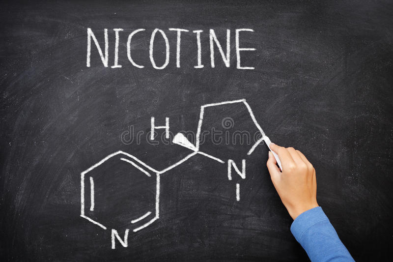 Nicotine molecule chemical structure on blackboard royalty free stock image