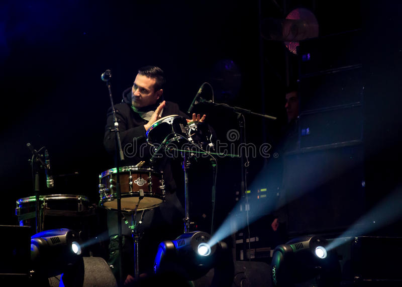 Nicu Dumitrescu. (drums) from Mihai Mărgineanu (singer) Band at New Years Eve 2014 concert organized by District 3, Bucharest stock photos