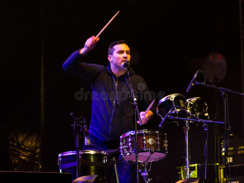 Nicu Dumitrescu. (drums) from Mihai Mărgineanu (singer) Band at New Years Eve 2014 concert organized by District 3, Bucharest royalty free stock photo