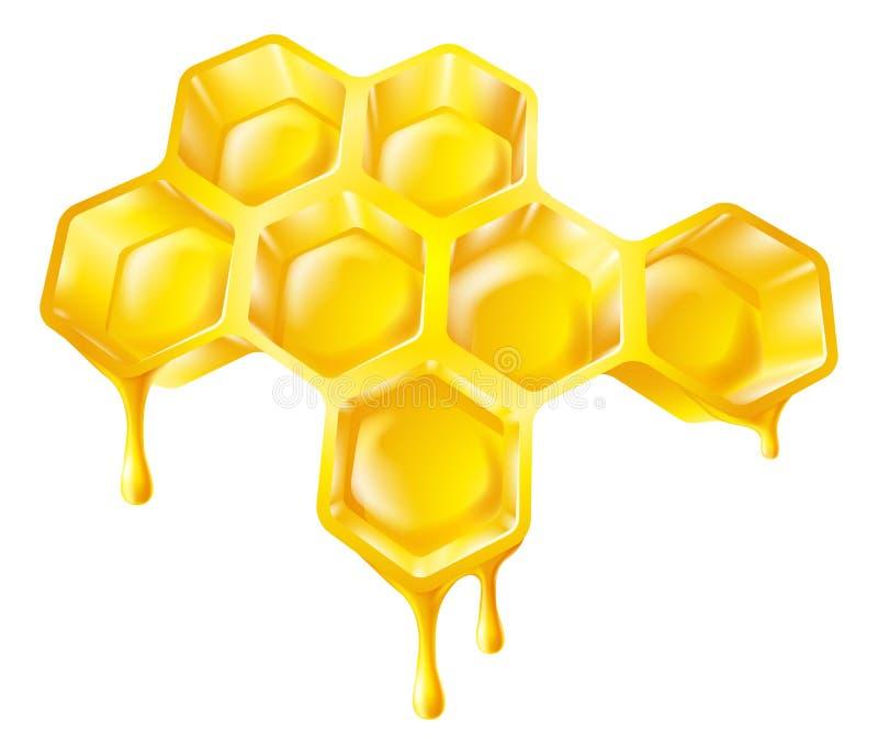 Nid d'abeilles avec du miel d'égoutture illustration stock