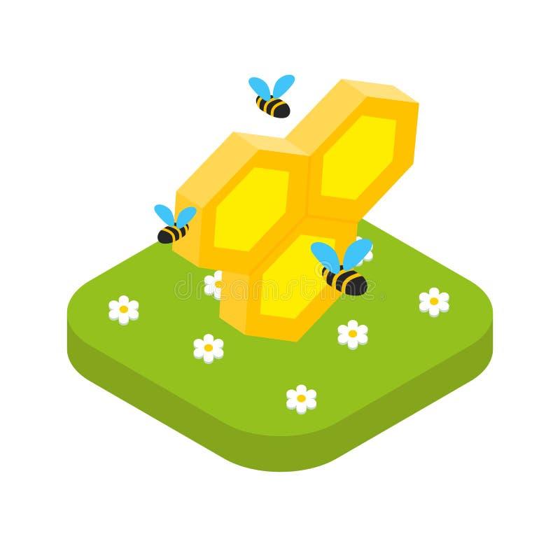 Nid d'abeilles isométrique avec des abeilles, vecteur de concept de l'apiculture illustration stock