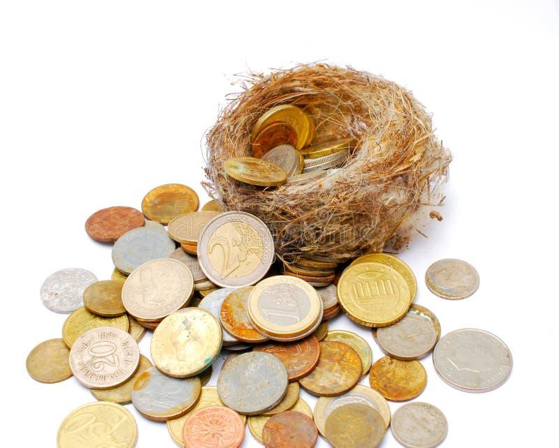 nid d'oiseau et vieilles et nouvelles pièces de monnaie sur le fond blanc images stock