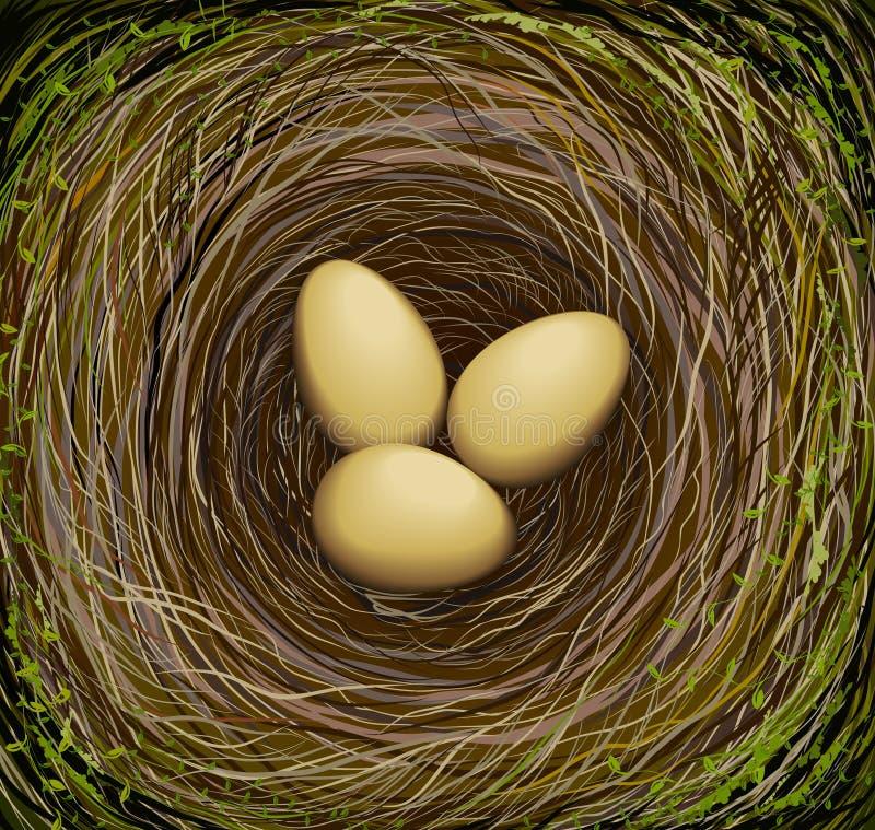 Nid réaliste de l'oiseau s avec trois oeufs, Pâques en nature, illustration de vecteur