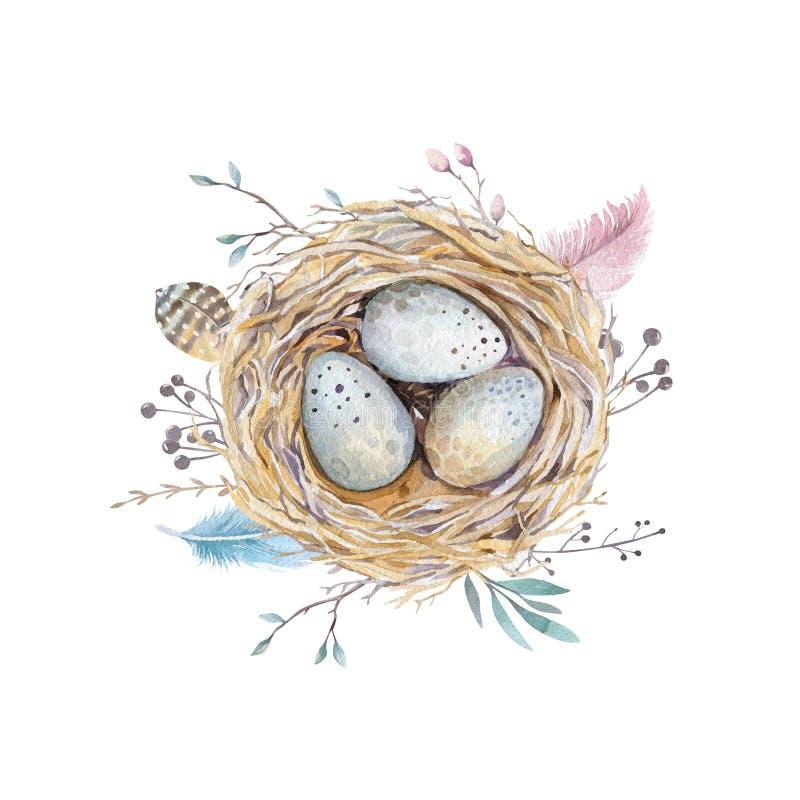 Nid tiré par la main d'oiseau d'art d'aquarelle avec des oeufs, conception de Pâques illustration libre de droits